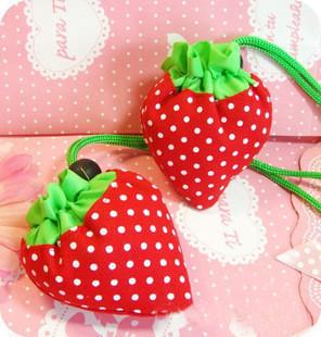 Free Shipping Eco-friendly Large strawberry bags bag folding shopping bag strawberry tote(China (Mainland))