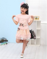Free Shipping baby dress sets wholesale 4sets/lot kid girls clothing sets,baby skirt flower wear for girls