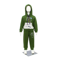 Sale Korean stylish cotton cute cartoon children boys and girls casual sport set suit autumn 2pcs hoodies with pants 5sets/lot