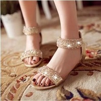 2013 spring and summer sandals handmade crystal beaded round toe wedges zipper sandals