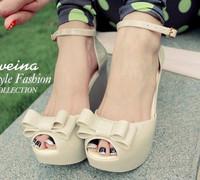 Melissa jelly shoes open toe platform wedges shoes plastic candy color platform sandals
