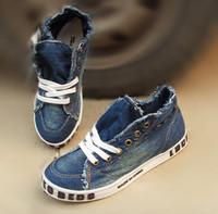 Denim shoes 2010 autumn fashion rivets lacing denim canvas shoes female shoes