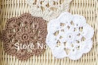 Free shipping wholesale 50pcs/lot handmade Crochet Doily, 6cm cup mat  white and brown, wedding favor