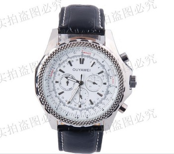 Free shipping luxury Fashion men automatic mechanical Timepiece self wind watches leather Band double calender sport style