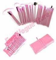 Pro 22PCS Makeup Foundation Eyeshadow Mascara Lip Brushes Set Eyebrow Comb Eyeshadow with Roll up Pink Case
