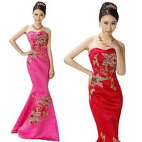 Long design bridal evening formal dress tube top slim peones fish tail formal dress