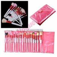 Pro 20PCS Makeup Foundation Eyeshadow Mascara Lip Brushes Set Eyebrow Comb Eyeshadow with Roll up Pink Case