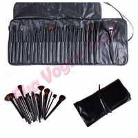 Pro 24PCS Makeup Foundation Eyeshadow Mascara Lip Brushes Eyebrow Comb Eyeshadow Eyebrow Shadow Cosmetic Brush Kit +Black Case