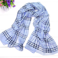 Free Shipping! Min. Order is 10USD(Can Mixed Order)Fashion spring and autumn women long faux silk chiffon plaid scarf