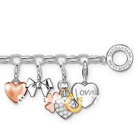 whloesale price new fasion style TS bracelet with 4 charmes  planting silver bracelet heart pendant Bow tie pendant tsb0078