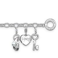 wholesale price new fasion style TS bracelet with 3 charmes  planting silver bracelet heart pendant key pendant tsb0077