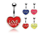 body piercing,belly,fashion model, heart with love  model, best choice for friend gift,yellow,blue,pink,red ,free shipping