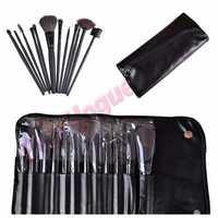 Pro 12PCS Makeup Foundation Eyeshadow Mascara Lip Brushes Eyebrow Comb Eyeshadow Eyebrow Shadow Cosmetic Brush Kit +Black Case