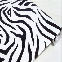 Free Shipping waterproof wallpaper zebra print 10 meters long per roll wall stickers