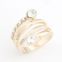Elegant fashion gentlewomen star all-match curve ring personality two-color