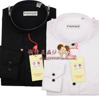 Free shipping Heng YUAN XIANG shirt men's long-sleeve shirt stand collar shirt black white o-neck shirt