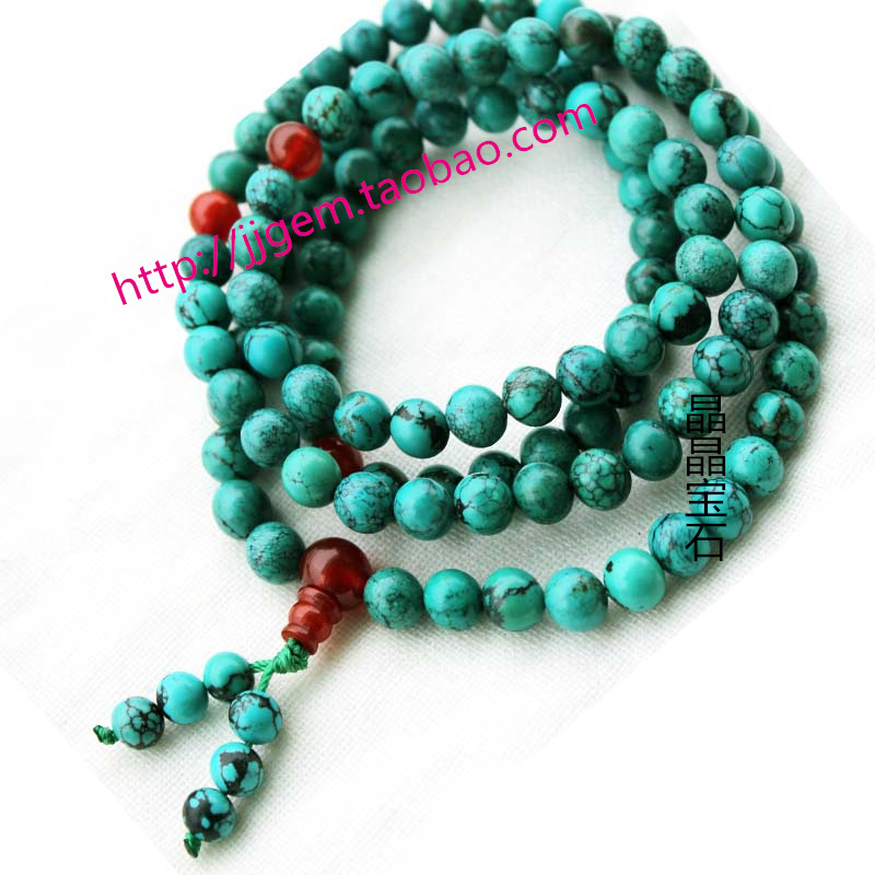 Natural turquoise beads 108 bracelet male Women accessories bead necklace(China (Mainland))