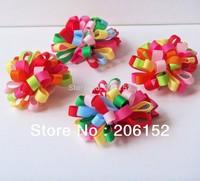 Hot Selling Christmas Hair Accessories Grosgrain Ribbon Flower Hair Clip for kids Children Hair Pin Wholesale  free shipping