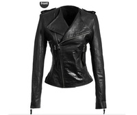 2013 autumn women's leather clothing large lapel epaulette zipper decoration slim motorcycle leather jacket outerwear female