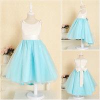 New Noble White Sky Blue flower girl dress low-high kids children girls party pageant dress princess dresses for girls GD059