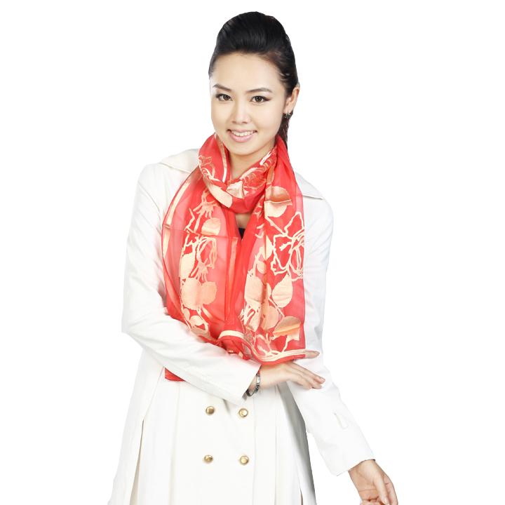 Silk scarf pure silk scarf cape women's mulberry silk ol flowers(China (Mainland))