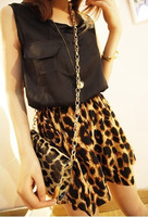 leopard jumpsuits women new fashion 2013,women's chiffon sexy black off shoulder romper, overalls women shorts