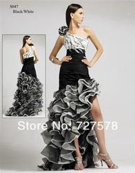 2013 Latest One-Shoulder White&Black Beaded Ruffle Prom Evening Dress/Gown Custom make(China (Mainland))