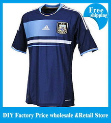 Free shipping MESSI 12-13 Argentina away dark blue soccer football jersey + short kits, best quality soccer uniforms+embroidery(China (Mainland))