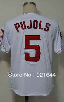 Free Shipping -#5 Albert Pujols Men's Authentic Home White Cool Base Baseball Jersey(China (Mainland))