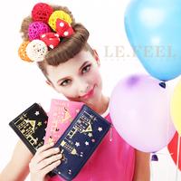 Lefeel 2013 bronzier fashion line design women's cowhide long wallet day clutch
