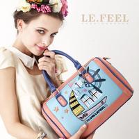 Lefeel 2013 new arrival bag vintage cutout color block BOSS bucket bag portable one shoulder women's bags