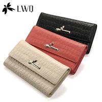 Lwq first layer of cowhide bow women's wallet genuine leather wallet female long design three fold wallet crocodile pattern
