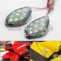 Motorcycle Universal Teardrop 2x 9 Amber SMD LED Clear Lens Flush Mount Turn Signals Light Blinker Side Marker Lamp Stick On