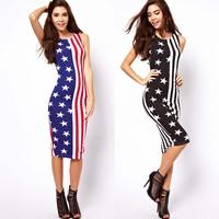 New american flag stars and stripes print midi sleeveless one-piece dress slim tank dress
