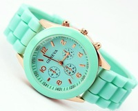 400pcs lot Geneva New Style Watch Jelly Watch Three circles Display Silicone Strap Candy Color Unisex Dropship LJX12