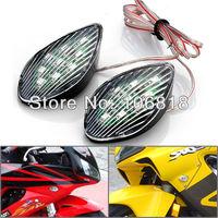 2x 9 Amber SMD LED Motorcycle Universal Teardrop Clear Lens Flush Mount Turn Signals Light Blinker Indicators Lamp Stick On Base