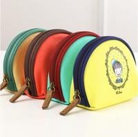 Bread coin case coin purse change pocket canvas wallet semi-cirle series key wallet cartoon small bag free shipping .