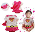 free shipping best selling hot summer bodysuit for girls cute superman baby rompers