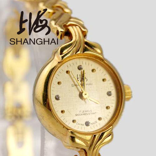 Watch 17 manual mechanical watch gold ladies watch diamond bracelet gold plated fashion female form(China (Mainland))