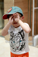 Free shipping 2013 new summer t shirts for children animal tiger short sleeve cotton t-shirts for girls & boy