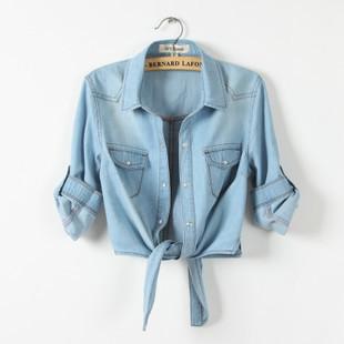 All-матч джинсовой рубашки tieclasps женский развертки шнуровкой джинсовой верхняя ...