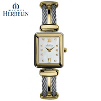 Herbelin elegant gold plated ladies watch silvery vintage ladies watch 17114 bt59