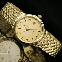 Ultra-thin male watch beads gold plated quartz mens watch calendar lb-1010km brand watches