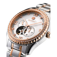 Binlun mechanical mens watch fully-automatic waterproof calendar gold plated diamond cutout watch male table