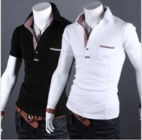 2013 men's fashion leisure v-neck shirt slim cotton T-shirt in black, white, size