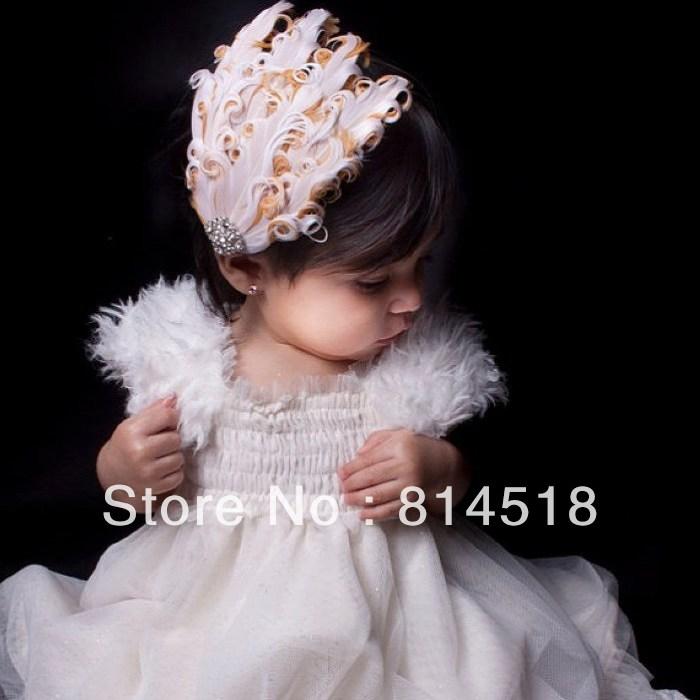 Fashion feather baby hair bands wedding hair accessories for girl peacock headband princess crystal hair clip free shipping(China (Mainland))
