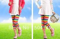 free shipping Wholesale baby leggings girls rainbow color pants baby leggings kids trousers  6pcs/lot