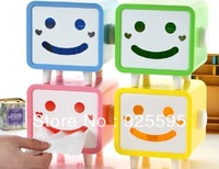 Free shipping &2013 hot selling factory price creative smile face plastic tissue box,5 colors