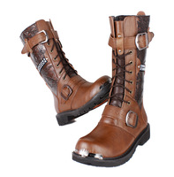 2014 fashion genuine leather motorcycle boots autumn / winter botas brown flats boots rubber shoes for men free shipping