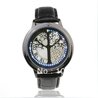 Promotion Tree Binary Led Touch Digital Wrist Watch Blue Light Leather Band Quality watch free shipping